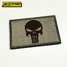Patch Ricamata Skull Sniper Punisher Navy Seals 8 x 5 cm Militare con Velcro TAN