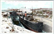 ST. JOHN, New Brunswick  Canada  DRY DOCK Largest in the World  c1920s Postcard