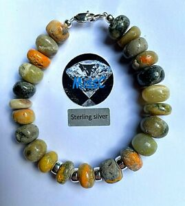 Bumble Bee Jasper large Rondelle Bracelet with 925 Sterling Silver Clasps