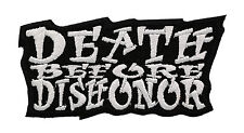 DEATH BEFORE DISHONOR WHITE ON BLACK MOTORCYCLE VEST PATCH