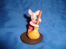 """Winnie Pooh Friend PIGLET with broom Disney figure 2"""" Tall Plastic good topper"""