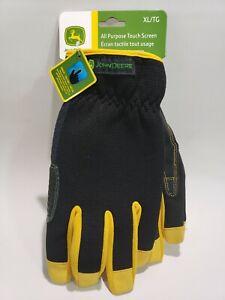 John Deere XL All-Purpose Utility work gloves black/yellow w/ logo COWHIDE touch