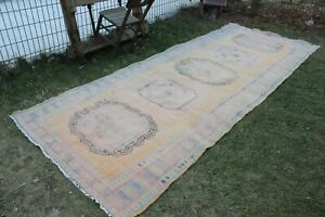 Vintage Handmade Turkish Muted Oushak Runner Rug 11'x4'6""