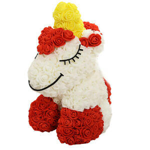 Cute Roses Unicorn with Gift Box Artificial Flowers Unicorn for Christmas gift