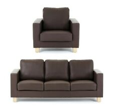 LOFT Isabella Brown Faux Leather 3 Seater Sofa & Matching Armchair - Set £479