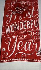 "Christmas Kitchen Towel   IT'S THE MOST WONDERFUL TIME OF THE YEAR  15"" X 25"""