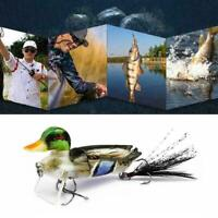 3D Topwater Suicide Floating Duck Topwater Bass, Muskie, Pike Fishing Lure X5Y2