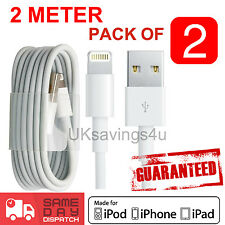 2x 2M 100% for Apple charger USB Data cable for iPhone 7 6 5 Plus 2 Meter Cable