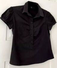 Cue Black Short Sleeve Ladies Shirt. Hard To Photo Detail! Size 12. Collect Or P