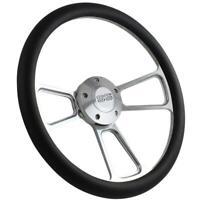 "14"" Billet Steering Wheel (Black Wrap, Chevy SS Horn Button, Adapter A01)"