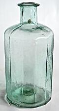 Open Pontil Crude Whittled 12 Sided MEDICINE BOTTLE ~ Aqua Glass