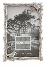 Sixtrees Hedgerow Antique Silver 6x4 inch photo frame Birds and Flowers Detail