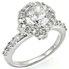 Ornate Halo 2.7 TCW Cushion Round Cut CZ Wedding Engagement Bridal Ring Size 5