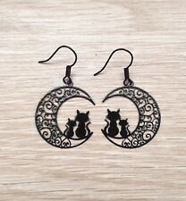 Delicate Filigree Black Cat and Crescent Moon Gothic Drop Earrings  UK