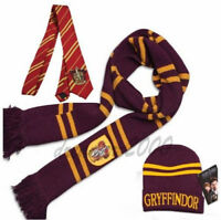 3pcs Harry Potter Gryffindor House Tie Scarf and Hat Cosplay Costume Xmas Gift
