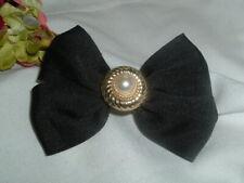 Large Pearl Black Grosgrain Ribbon Hair Barrette by Philips in Gift Box