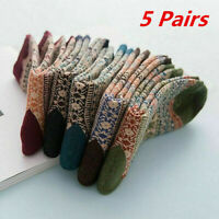 5 Pairs Mens Thermal Socks Walking Winter Warm Thick Rich Wool Hike Chuncky Sock