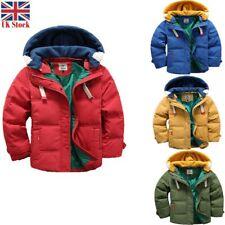 kids Boys Warm Winter Coats Hooded Coat Detachable Thick Parka Cotton Jacket UK