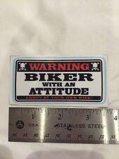 Biker With An Attitude Decal Sticker