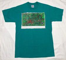 Vtg 90s Space Map Mens Teal S/S T-Shirt Sz Medium B8
