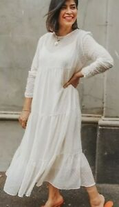 Zara Cream  Dot mesh 💖 Maxi Flowing Dress Size S Bloggers Fave