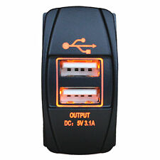 5V 3.1A LED AMBER Dual USB Car Charger Power Socket for iPhone 5/5S 6/6S Plus