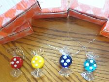5 NEW BOXES @4= 20 CANDY GLASS CHRISTMAS TREE ORNAMENTS---RED YELLOW BLUE LIGHT