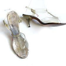 Vintage 1950s Lucite Heels Pumps Shoes Ronelli Creations Rhinestones Size 6.5