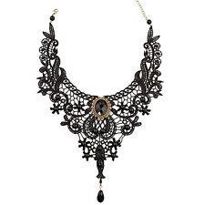 Artistic Black Lace Alloy Waterdrop Pendant Statement Bib Choker Party Necklace