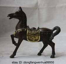 Chinese Bronze Copper Gild Feng Shui Longevity Blessing Fu Shou War Horse Statue