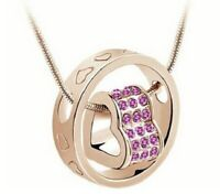 LOVE YOU FOREVER Heart Necklace~Gold with Pink Swarovski Crystals VALENTINES DAY