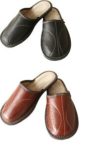 Men's Leather Slippers Slip On House Shoes Size 6.5- 11 Mules Sandals Slides UK
