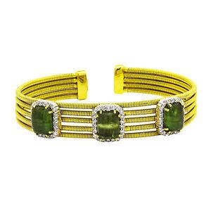 18k Yellow Gold Diamond Green Tourmaline Bangle Bracelet 1.00ct TDW 36 Grams