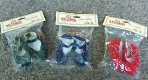 3 PAIRS OF LOVELY 50mm FAUX SUEDE,RED,BLUE,GREEN DOLLS SHOES