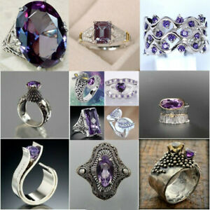 Unique Style Amethyst Diamond 925 Silver Crown Ring Anniversary Wedding Rings