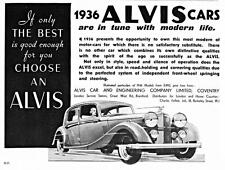 Old Print.  1936 Alvis Cars Advertisement
