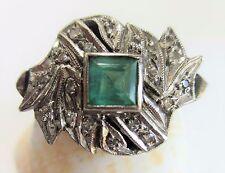 18K White Gold Genuine Emerald Square (5 x 5 mm)  Diamond Ring Size 8.5