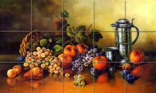 30 x 18 Art Corado Pila Apple Grape Mural Ceramic Bath Backsplash Tile #1202