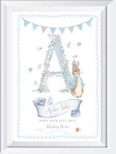 Personalised Baby Peter Rabbit Nursery Print Kids Bedroom Wall Art Gift Picture