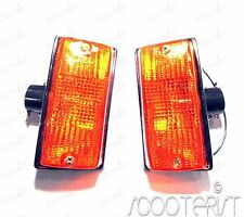 Vespa Front Indicator Blinker Lamp Black Amber Set PX P PE STAR STELLA SPEEDY