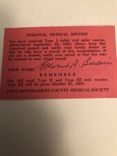 Polio Vaccine Personal Medical Record Card 1963. See Pictures
