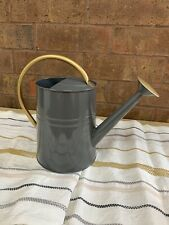 Gray Metal Adult Watering Can 1 Gallon With Gold Handle + Spout Brand New