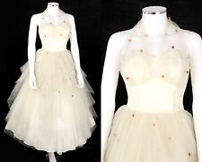 VTG 1950s IVORY TIERED LAYERED TULLE 3D POLKA DOT HALTER COCKTAIL PARTY DRESS XS