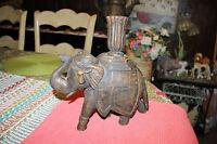 Vintage Wood Carved Elephant Candlestick Holder-Elephant Trunk Up Candle Holder