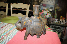 Vintage Wood Carved Elephant Candlestick Holder-Elephant Trunk Up Candle Holder