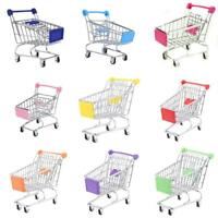 Kids Pretend Role Play Mini Metal Shopping Trolley & Basket Supermarket Handcart