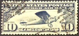 1927 10c Lindbergh Airmail Single, Scott #C10, Used, Fine