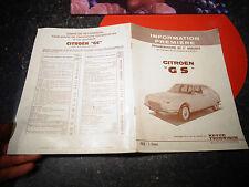 Documentation Information Première en attente R.T.A / la CITRÖEN  GS Jan 1971