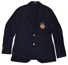Polo Ralph Lauren Mens Linen Cotton USA Blazer Sport Coat Jacket Navy Brass 42L