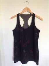 Lululemon Cool Racerback Tank Top Size 10 ? Black Floral Midnight Iris Flower